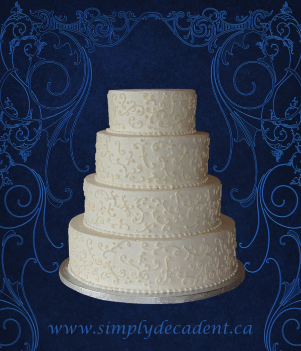 4 Tier Buttercream Wedding Cake With Buttercream Scrolling...