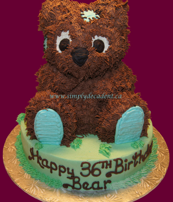 3D Brown Bear With Turquoise Pads Amp Patches