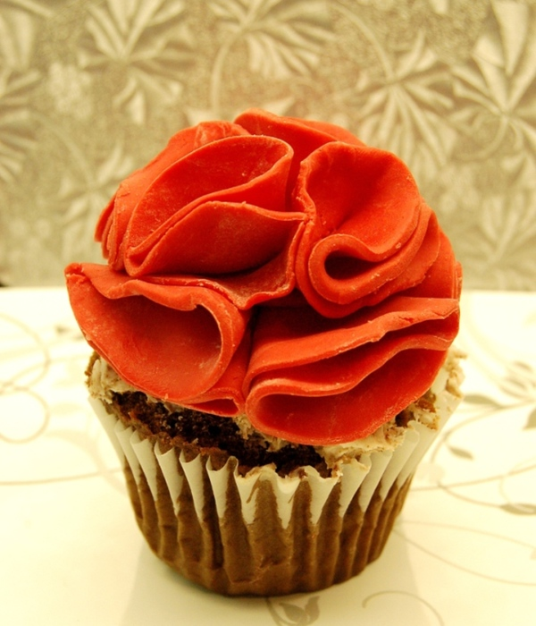 Chocolate Cupcake With Ruffle Flower Made Of Candy Melt For...