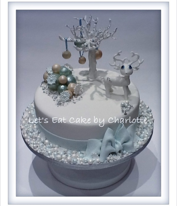 Frosty Blue & White Reindeer Christmas Cake