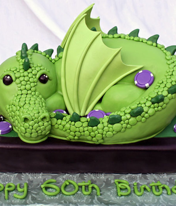 Green Dragon All Edible And All Cake Except For The Wings And Poker Chips Which Were Gumpaste Vanilla Cake With Italian Meringue Buttercr