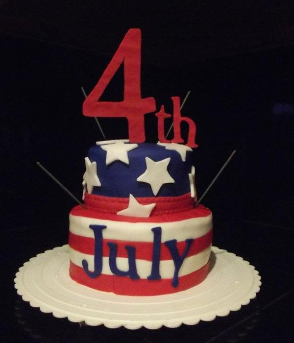 Two Tiers Covered In Fondant And Decorated With Fondant 4Th And July Cut From Cricut Sparklers For Added Fun