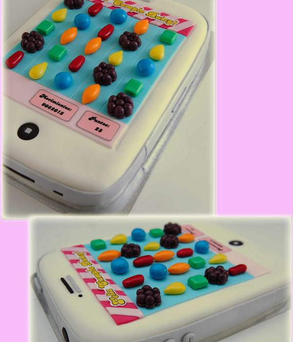 Candy Crush Themed Cake Filled With Dulce De Leche And Fresh Peaches Covered With Fondant