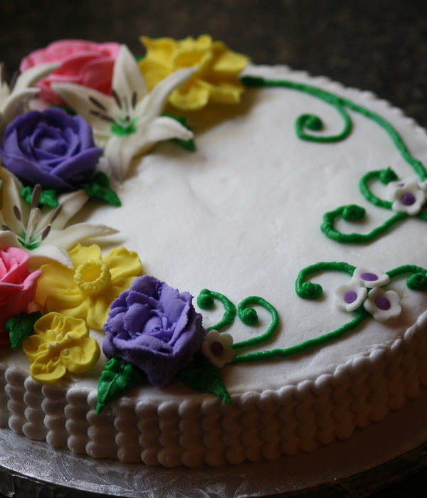 Single Layer Chocolate Cake Iced In Butter Cream With Petal...