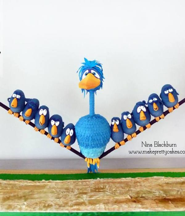 Pixar For The Birds, 3D Suspended Cake Of Birds On A Wire