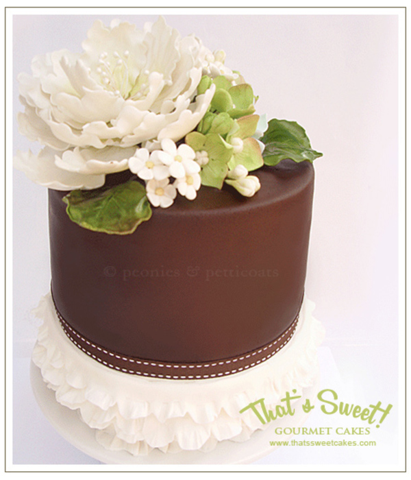 Double Barrel Cake With Handmade Sugar Flowers And Frilled...