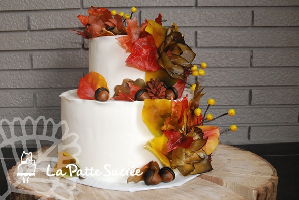 Fall Wedding Cake Cake Covered In Modeling Chocolate Leaves...