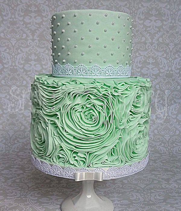 Mint Rose Ruffle Cake