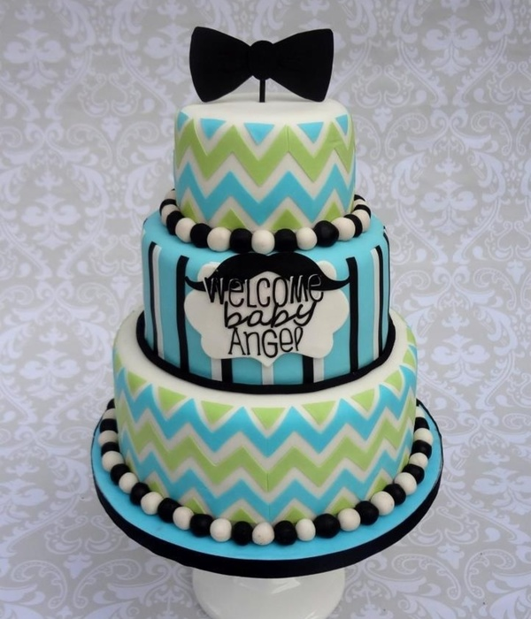 Little Man Chevron Bowtie Mustache Cake
