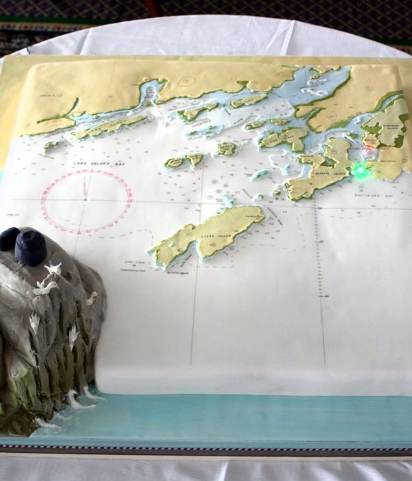 This Cake Was An Exact Replica Of The Admiralty Chart For This Area There Were 10 Navigation Lights That Lighted In Sequence With The...