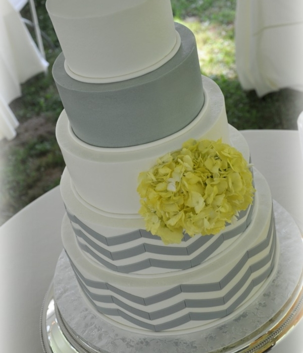 Yellow And Grey Chevron Cake