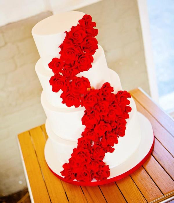 Red Rose Cascade Wedding Cake
