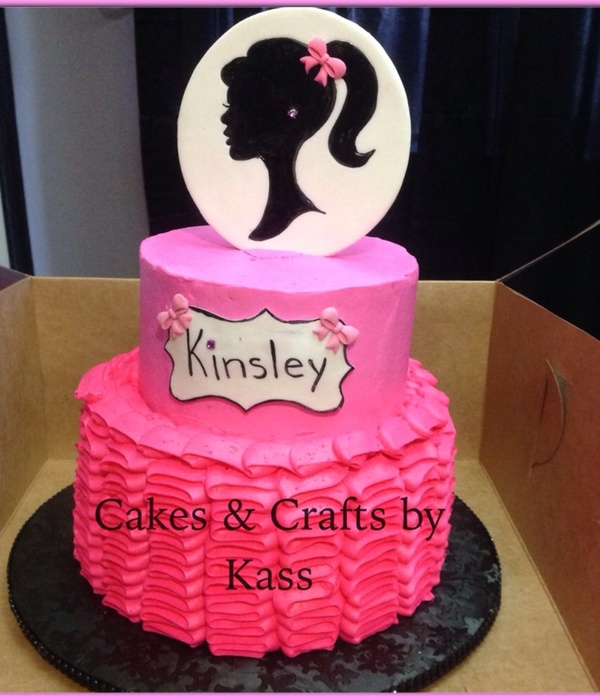 Pink Ruffle Cake With Fondant Topper Topper Silhouette Hand Painted