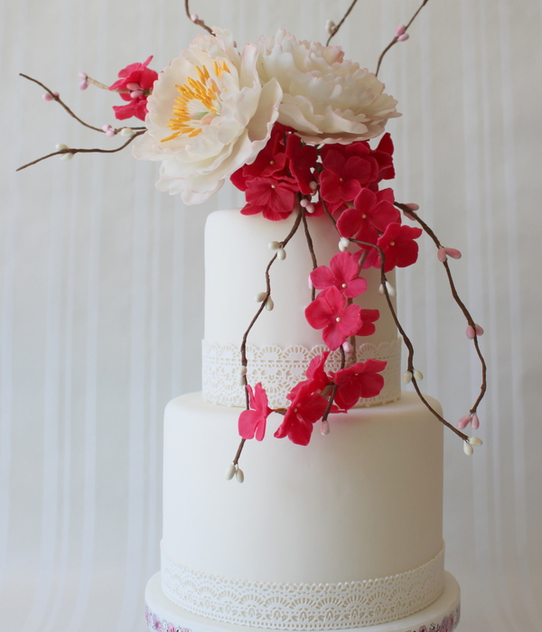 Wedding Cake With Peony And Hydrangea Sugar Flowers