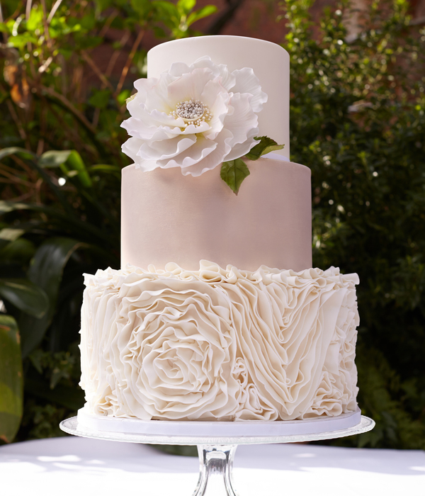 elegant wedding cakes with flowers cakes with ruffles cakecentral 13987