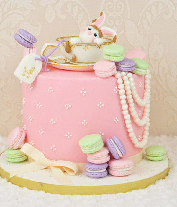 Vintage Tea And Macarons Birthday Cake By Juniper Cakery