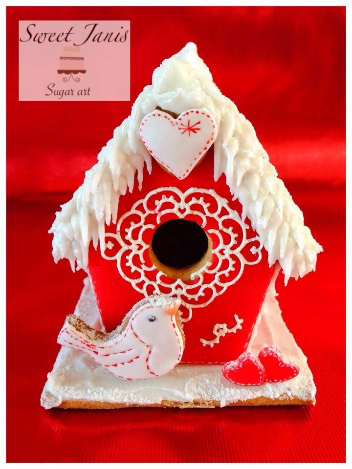 Red And White Gingerbread Birdhouse