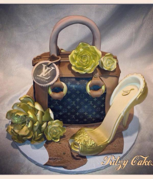 Louis Vuitton Purse Cake With Gold Sugar Flowers