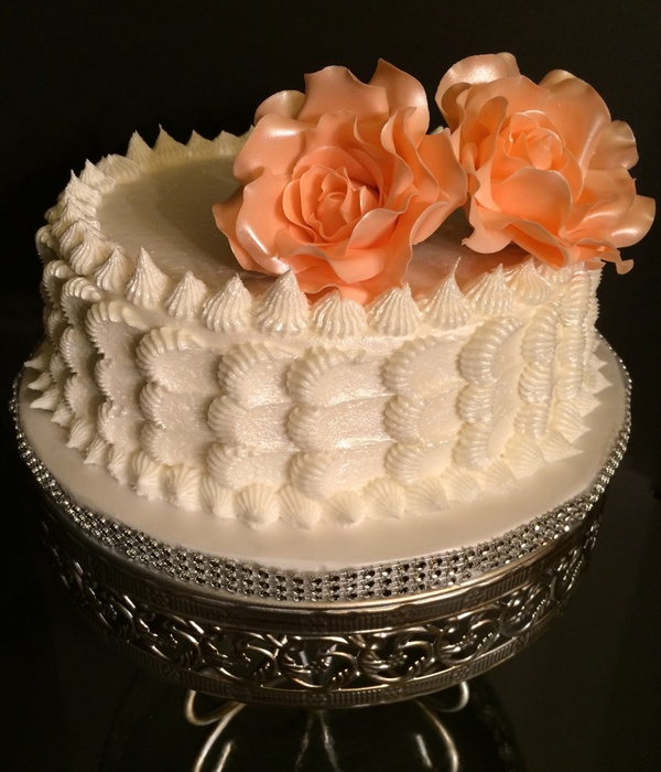 White Champagne Cake With My Handmade Sugar Flowers