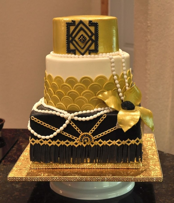 Great Gatsby Themed Party Cake Art Deco Style With Gold Air Brushed Top Tier Pearls Chain And Fringe