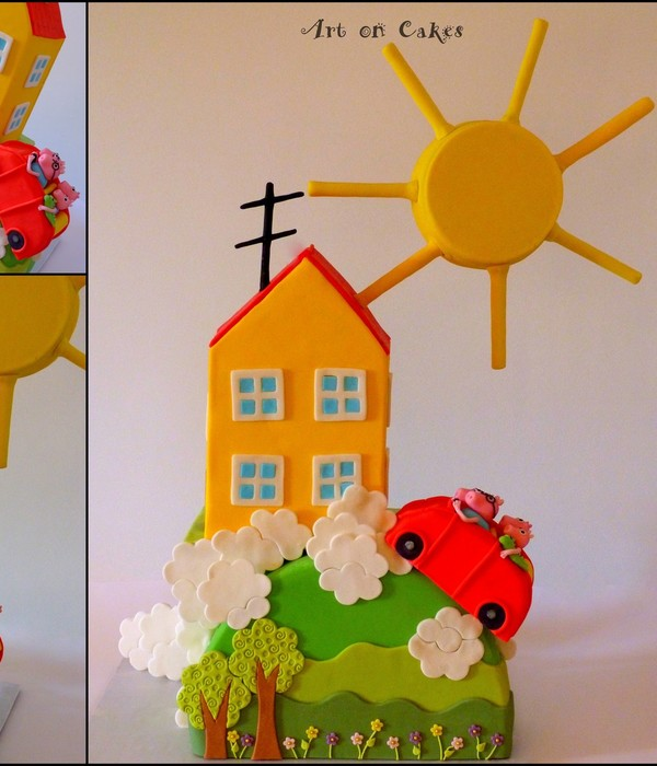 Peppa The Pig Cake Another Gravity Cake The House And The Sun Are Edible Its Total Height Is 80Cm And Its Weight Is 12 Kilos