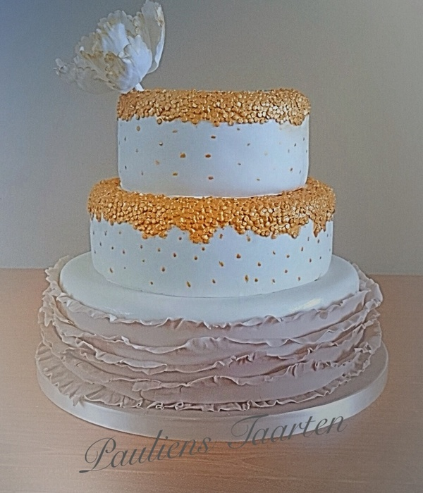 Weddingcake With Golden Accents