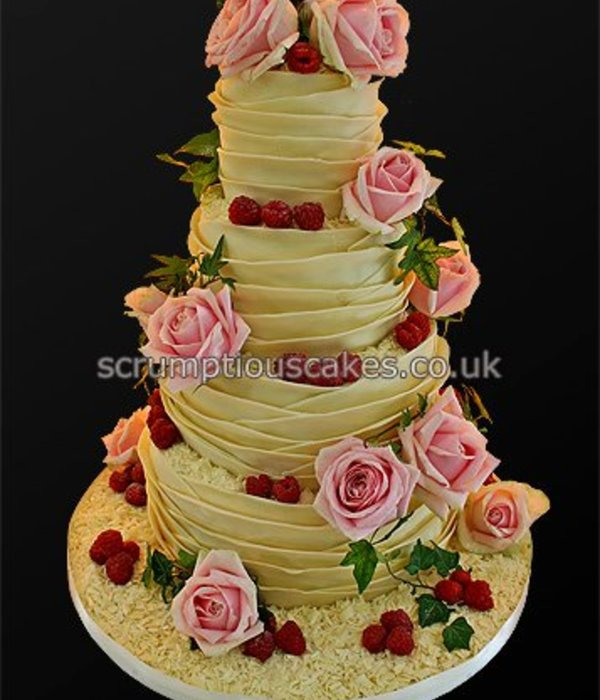 White Chocolate Wrap Wedding Cake