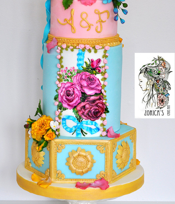 Marie Antoinette Style Wedding Cake Sugar Flowers And Hand...