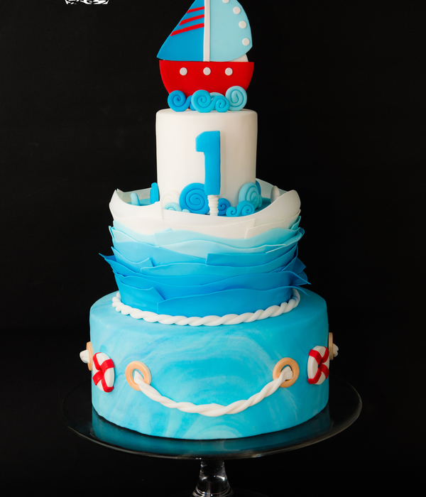 Sailing First Birthday Cake I Have Used Ruffles To Create Water Waves