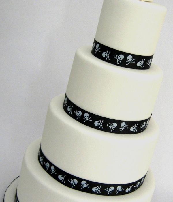 4 Tier Black & White Alternative Wedding Cake - Skulls