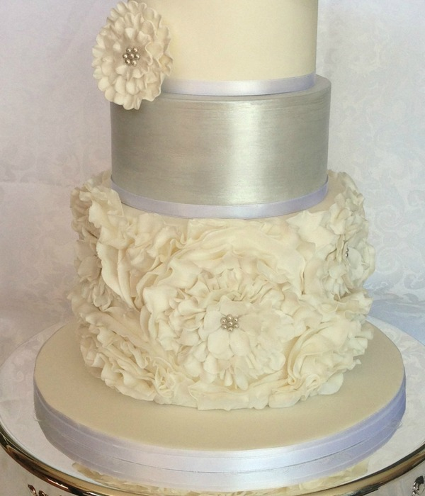 White Amp Silver Ruffled Wedding Cake