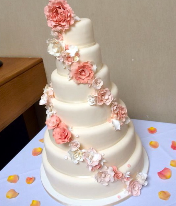7 Tier Wedding Cake With Sugar Flowers By The Kooky Cake...