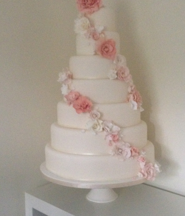 7 Tier Wedding Cake With Sugar Flowers