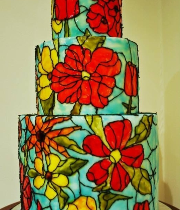 Stained Glass Effect Cake Using Piping Gel