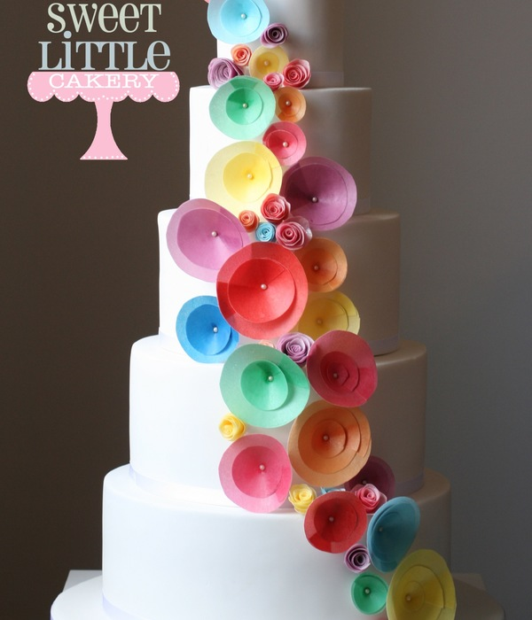Rainbow Coloured Wafer Paper Wedding Cake