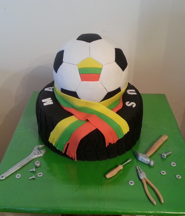 Tire And Soccer Ball Cake