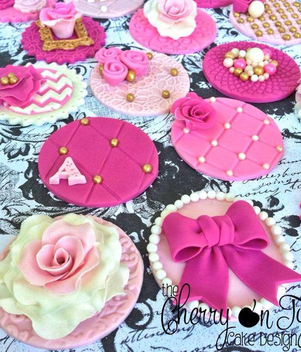 Vintage Tea Party Birthday Cupcake Toppers
