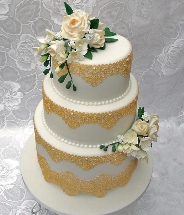3 Tier Wedding Cake With Gold Edible Lace And Hand Made...