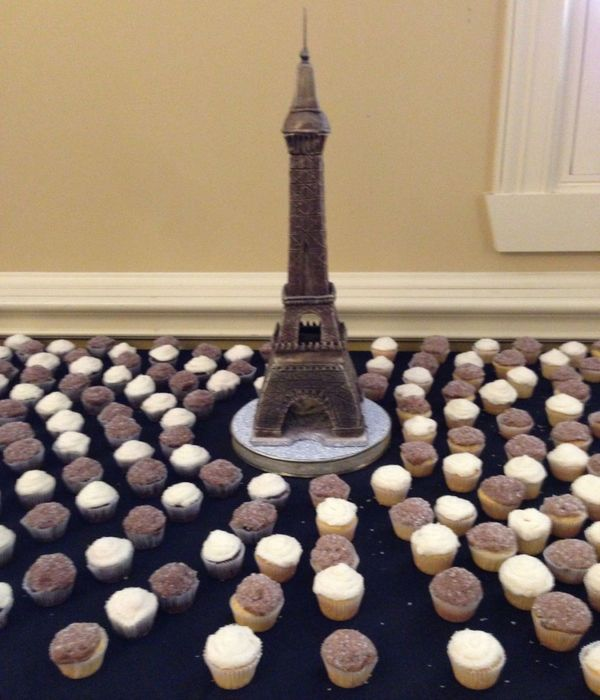 Teamwork: Hubby Did Cupcakes, I Carved The Eiffel Tower,...