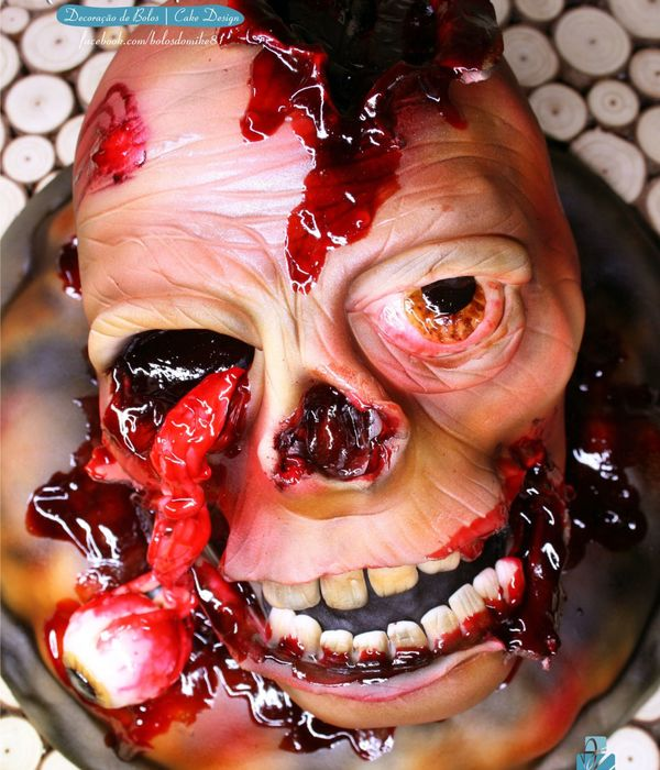 This Was My Creation For This Halloween Zombie Head Cake...