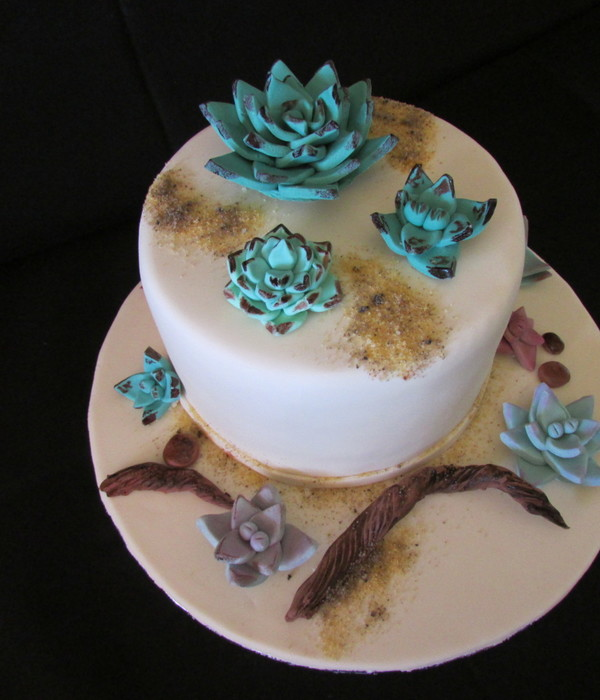 West Coast Succulent Garden Cake 3 Layered Madeira Cake With Raspberry Strawberry Filling Sand Coloured Fondant Gum Paste Succulents A
