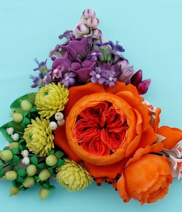 Triadic Colors Of Green Purple And Orange Sugar Flowers