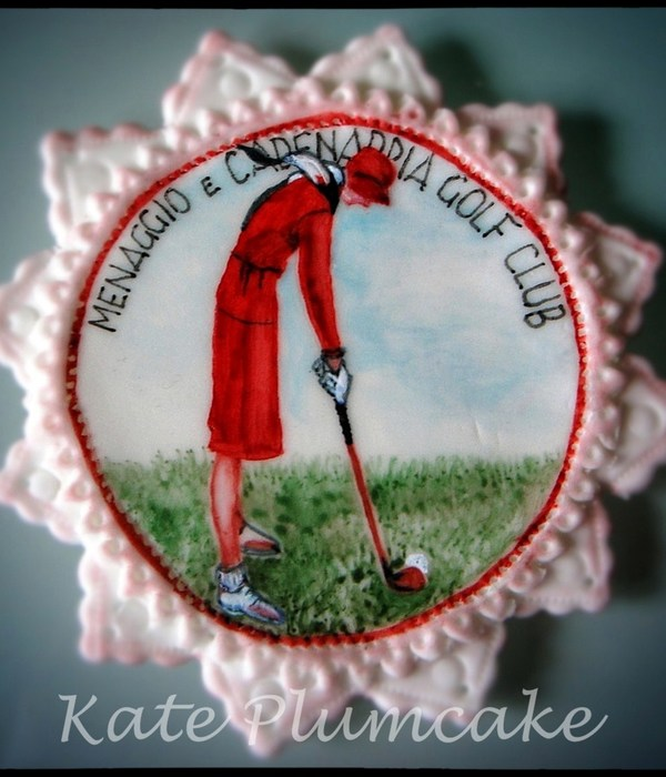 Free Hand Painted Cake Topper Golf Themed Made Of Fondant