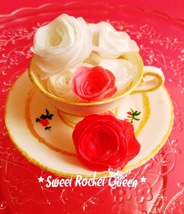 Gumpaste Teacup Hand Painted With Wafer Paper Roses