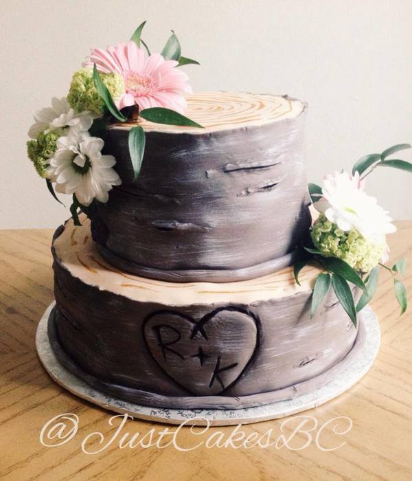 A Romantic Tree Stump Bridal Shower Cake Inspired By The...