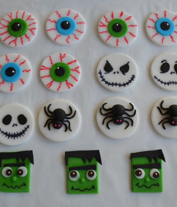 Halloween Cupcakes Toppers Eyeball Jack Skellington Spider...