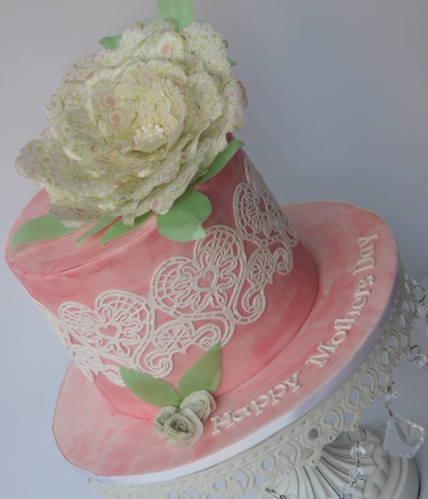 Mothers Day Lace And Wafer Paper Flower