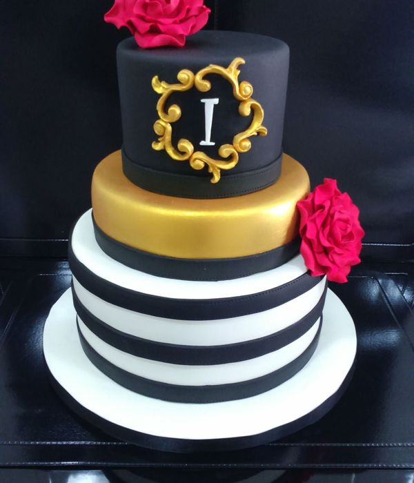 Black Gold And White Cake For My Friend Isabel Who Is Turning 50 Today Chocolate Cake With Dark Chocolate Ganache