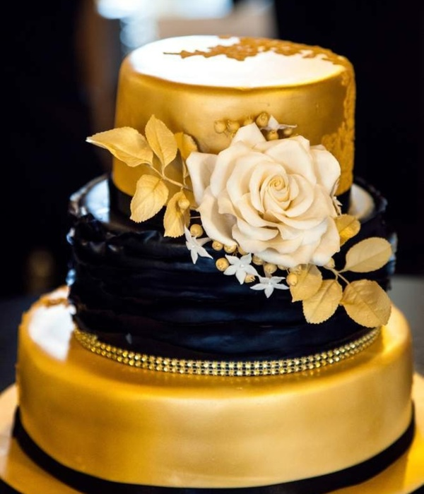 """gold And Black"" Wedding Cake"
