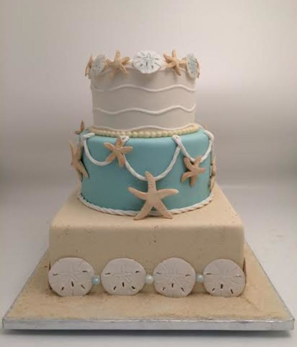 The Starfish And Sand Dollars Were All Hand Made Without The Use Of Any Kind Of Mold Or Stencil The Sand Effect On The Bottom Tier Was C